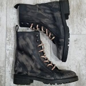 Zara Distressed Leather Combat Ankle Boots